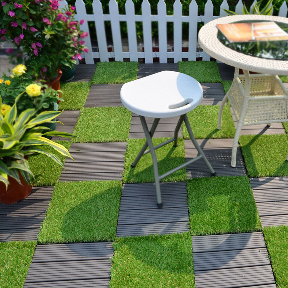 Enipate Grass Tile Series PP Interlocking Grass Deck Tiles Artificial Anti-wear Turf Tiles Garden Decking Tile 30*30*2.6cm