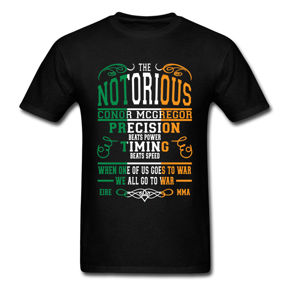 Notorious Conor Mcgregor T Shirt Men Letter T-shirt Ireland St.Patrick's Day Tshirt Cotton Tops Black Tees MMA Printed