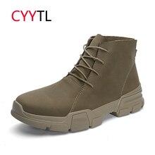 CYYTL/мягкие мужские Ботильоны; кожаная модная обувь в байкерском стиле; сезон весна; Erkek Bot; безопасная для работы зимняя обувь; Botas Zapatos de Hombre; удобная обувь