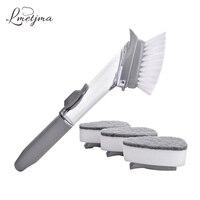 Lmetjma 2 in1 Кухня щетка для очистки с 4 Съемный длинной ручке щетки губка щетка для очистки дозирование мыла блюдо щетки