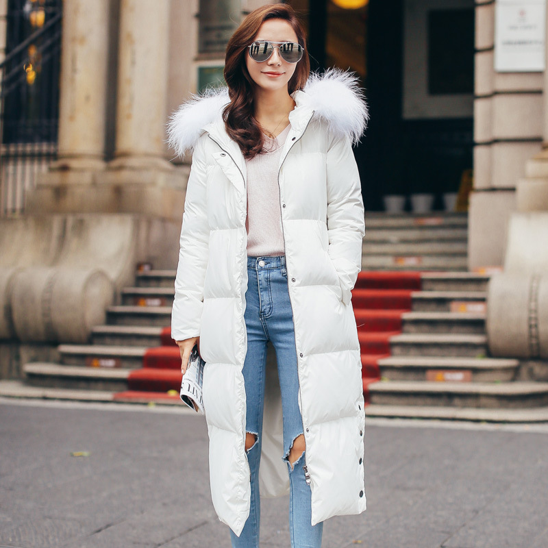 2017 New Fashion Autumn Winter Women Overcoat Ultra Long Real Fur Collar Wadded Coat Thick Female Parkas White Duck Down Jackets