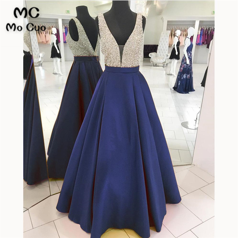 2018 Beaded   Evening     Dresses   with Beaded A-Line Gown Floor Length Double V Neck Satin Formal   Evening   Party   Dress   for Women