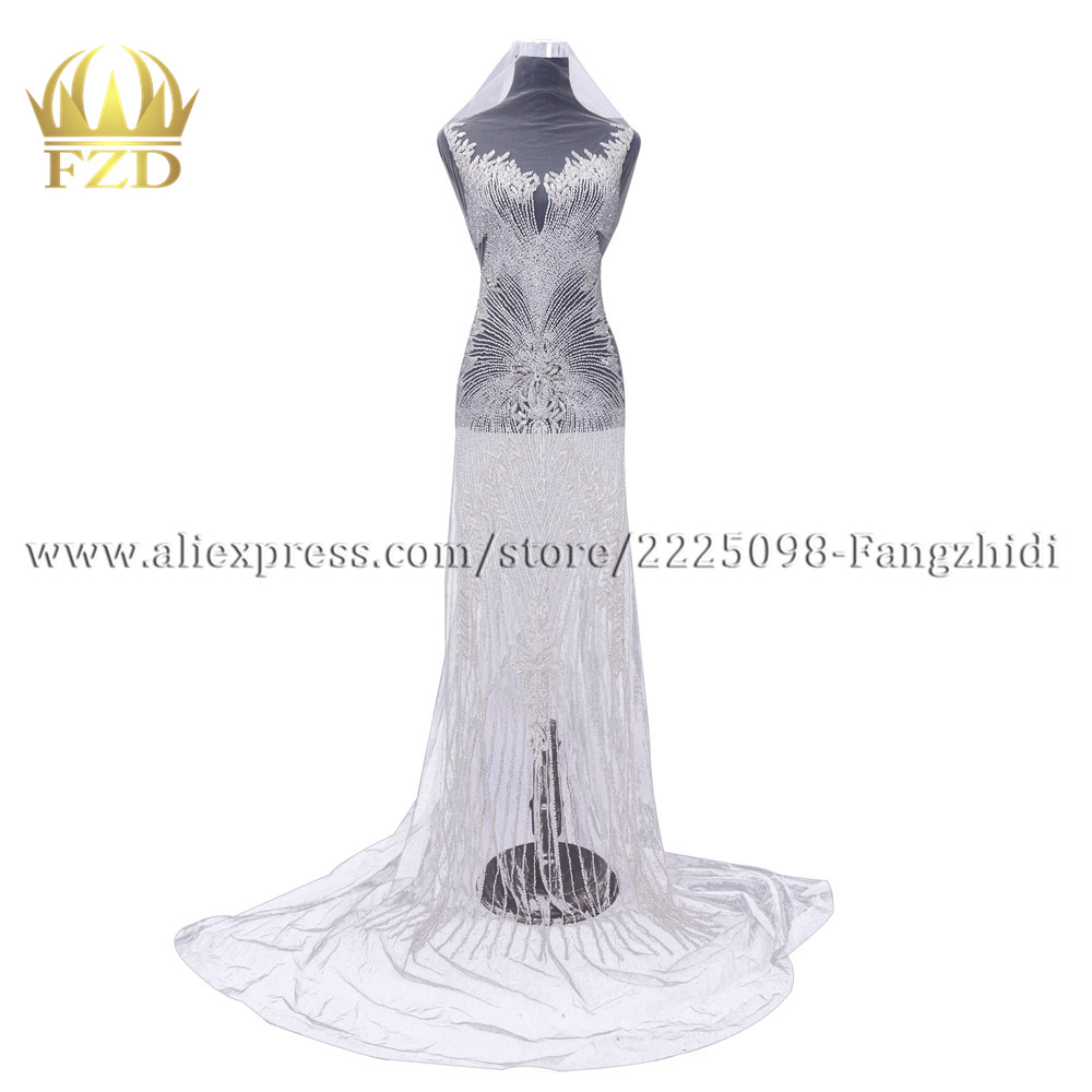 FZD 1 Set Bodice Applique Rhinestones Beaded Wedding Dress Stripe Patches Long Patch Front and Back Craft Supplies for DIY