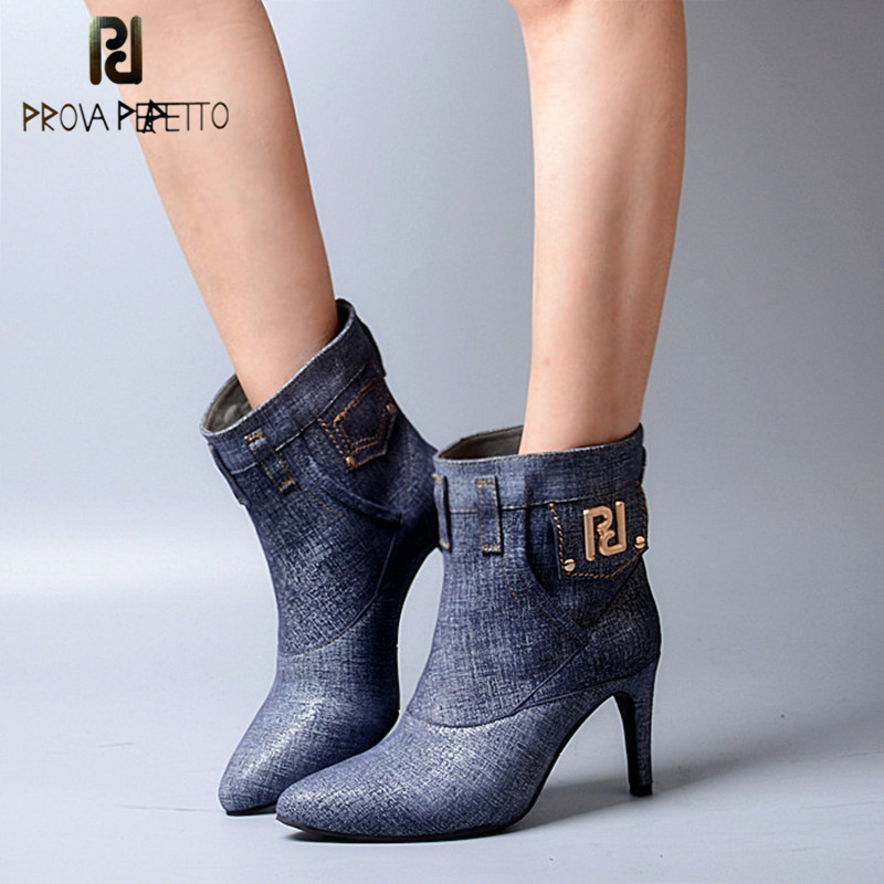 Prova Perfetto Euramerican Jeans Style Genuine Leather Patchwork Woman Boots Pointed Toe Thin High Heel Slip On Boots цена