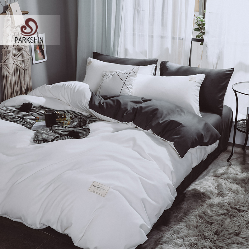 Parkshin White Bedspread Duvet Cover Set Gray Flat Sheet Pillowcase Double Queen King Size Bedclothes Home Bedding Set Adult BedParkshin White Bedspread Duvet Cover Set Gray Flat Sheet Pillowcase Double Queen King Size Bedclothes Home Bedding Set Adult Bed