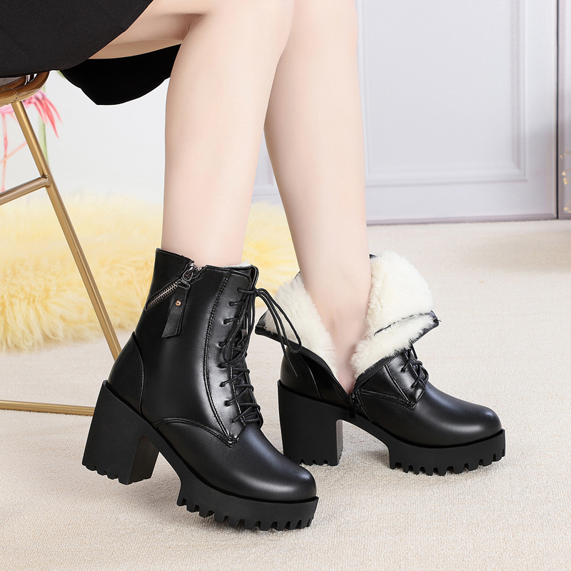 Image 2 - AIYUQI 2019 new winter women boots genuine leather high heel thick heel platform warm wool boots wedding shoes red-in Mid-Calf Boots from Shoes