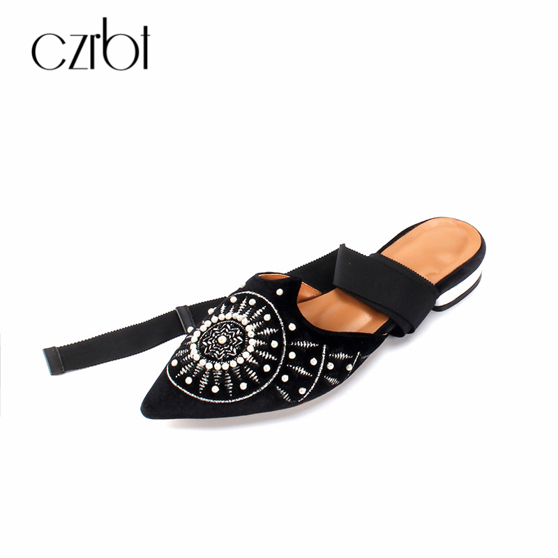 CZRBT Fashion Brand Stlye Women Mules Shoes Top Quality Velvet Ladies Slippers Ankle Strap Flats Causal Shoes for Party