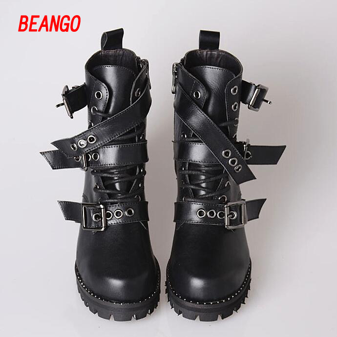 BEANGO Martin Boots Women Black Leather Low Heel Belt Buckle Lace Up Low Heel Cool Motorcycel Boots Rivets Ankle Bootie Female hot women winter snow ladies low heel ankle belt buckle martin boots shoes kh 39 17mar09