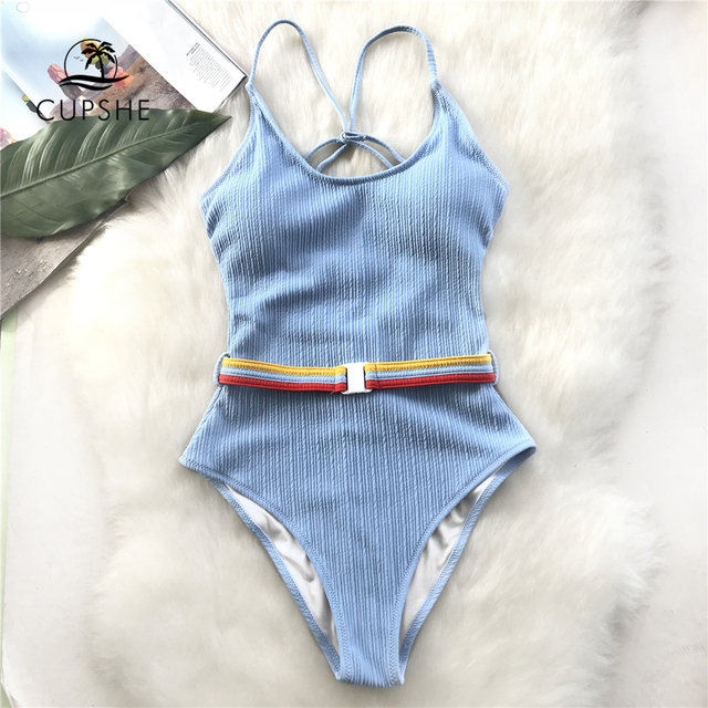 CUPSHE Blue One-piece Swimsuit Women Cut Out Soild Monokinis With Single Waistband 2020 New Girl Beach Bathing Suit Swimwear 1