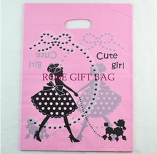 Wholesale 100pcs Cute Girl Print Pink Plastic Bag 15x20cm Jewelry Boutique Charms Gift Packaging Bag Favour Plastic Gift Bags(China (Mainland))
