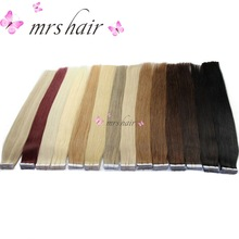 "MRSHAIR Tape In Human Hair Extensions 16"" 18"" 20"" 22"" 24"" 20pcs Straight Brazilian Human Hair On Adhesives Invisible Tape Hair"