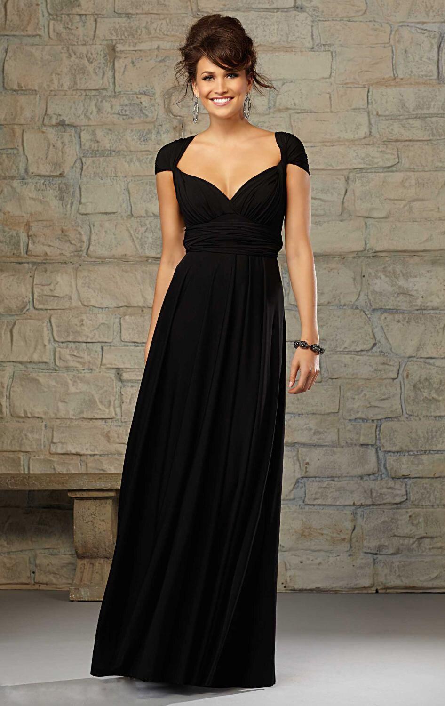 Nouveau conception élégant longue noir robes De demoiselle d\u0027honneur  chiffron mariage robe De soirée 2016 Vestido De Madrinha De Casamento Longo  B15069 dans