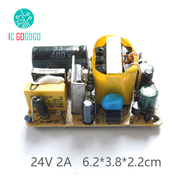 2Pcs AC DC 24V 2A Switching Power Supply Circuit Board Module For Routing Modem Surveillance Cameras 2000MA  100 240V 50/60HZ