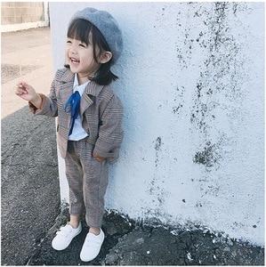 Image 5 - Spring Autumn Kids Blazer for Girls Casual Plaid Shirts Jacket Pants Toddler Girls Suits 2 3 4 5 6 Years Toddler Baby Clothing