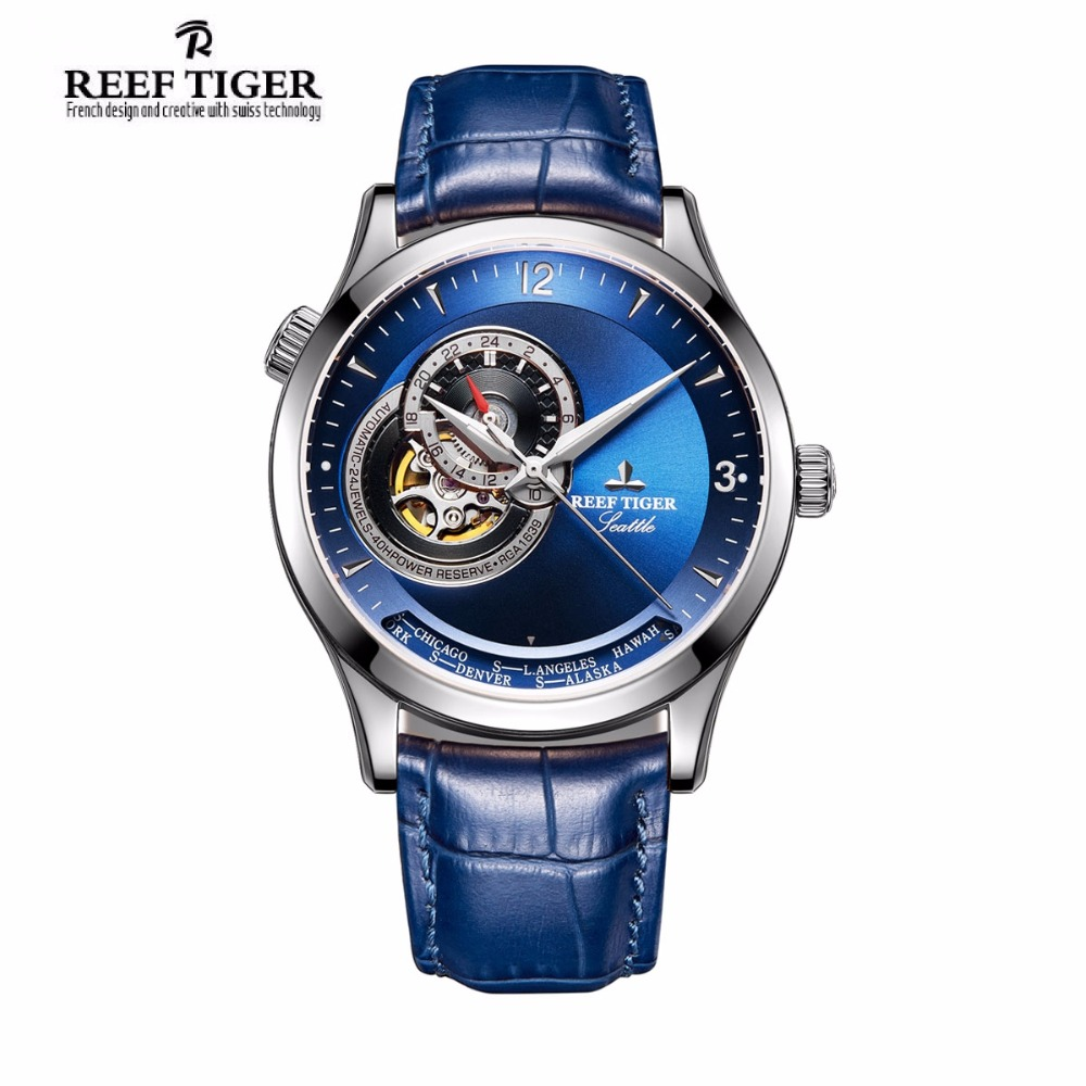 2017 Reef Tiger/RT Designer Casual Watches Blue Dial Stainless Steel Watches Automatic Watches Genuine Leather Strap RGA1693 vik max adult kids dark blue leather figure skate shoes with aluminium alloy frame and stainless steel ice blade