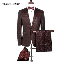 TIAN QIONG Vestito Degli Uomini 2017 Slim Fit Vino Rosso Mens Sequin abiti Da Sposa Vestito per Gli Uomini Elegante Borgogna Smoking Giacca Prom Wear M-4XL