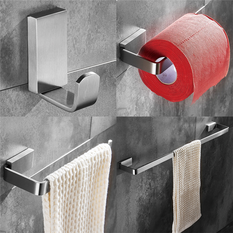 Leyden Towel Bar Towel Ring Robe Hook Toilet Paper Holder Wall Mounted Bath Hardware Sets Stainless Steel Bathroom Accessories oil rubbed bronze square toilet paper holder wall mounted paper basket holder