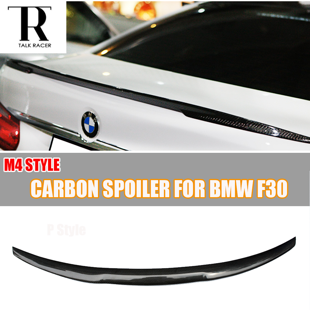F30 M4 Style Carbon Fiber Rear Wing Spoiler for BMW 320i 328i 330i 335i 320d 325d 328d 2012 - 2016 Tail Trunk Lid Lip Wing g30 v style abs unpainted primer rear trunk lip spoiler wing for bmw 530i 540i g30 2017up