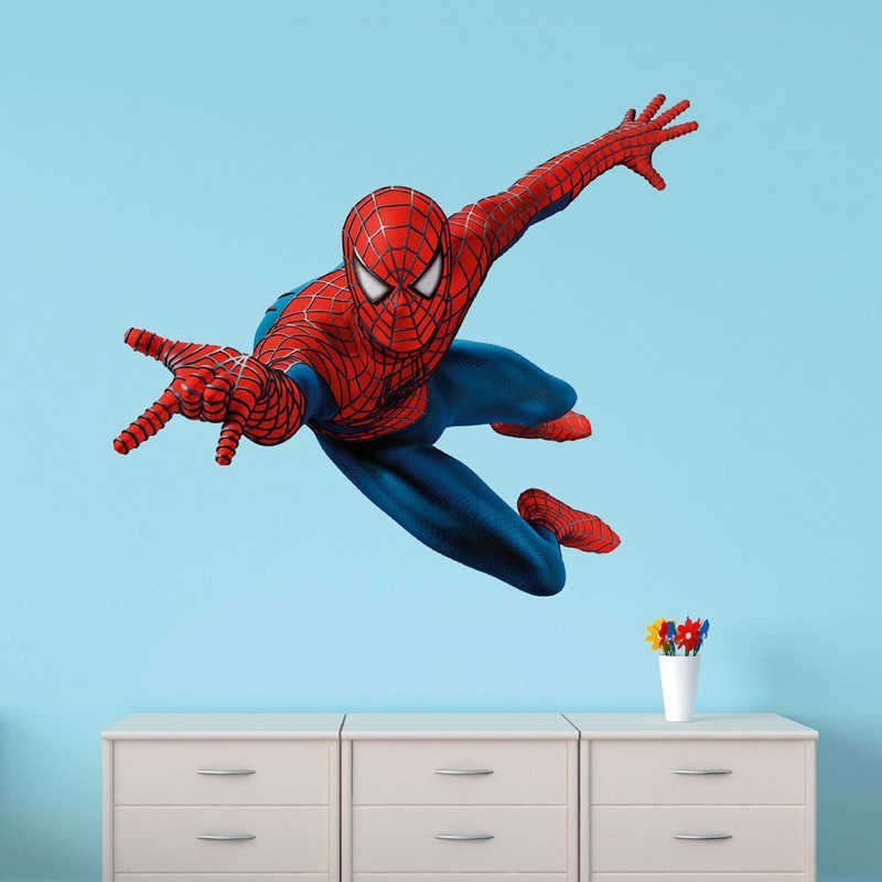 60 x 90 cm DIY 3D Spiderman Wall Stickers Removable Wall Stickers Decals Mural Art Batman Hero Poster For Kids Room Home Decor