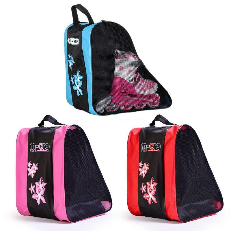 Grueso de calidad patines bolsas de un solo hombro bolso de Skate bolsos para patinaje en línea adultos/niños bolsas de deporte azul /rosa/rojo