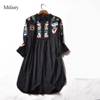 2017 Runway Dress Free Shipping Black White Butterfly Flower Embroidery 1 2 Sleeves Women Dress High