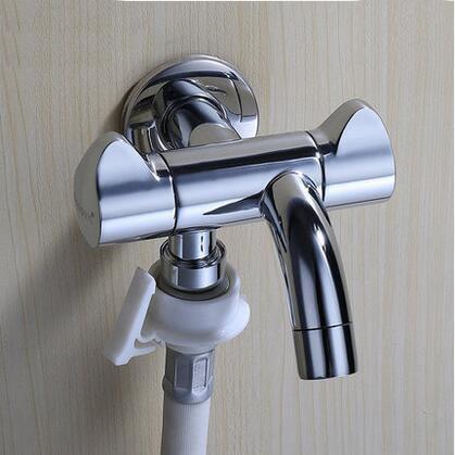 Robinet de salle de bain bibcock pour lave-linge, cuivre 1 entrée 2 sorties mural vadrouille piscine bibcock, robinet d'eau multifonctionnel