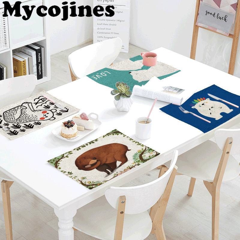 Hot Sale 42x32cm Tablecloth Bear Geometry Rectangular ...