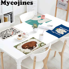 Hot Sale 42x32cm Tablecloth Bear Geometry Rectangular Restaurant Kitchen Decor Linen Western Mat Napkin Tea Coffee Table Coaster(China)