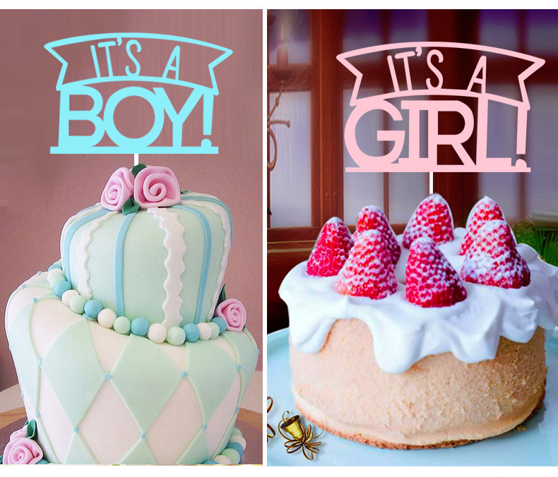 Kids Happy Birthday Cupcake Cake Toppers Cakes Flags Its A Girl & Boy  Baby Shower Birthday Festival Party Baking Decor-1