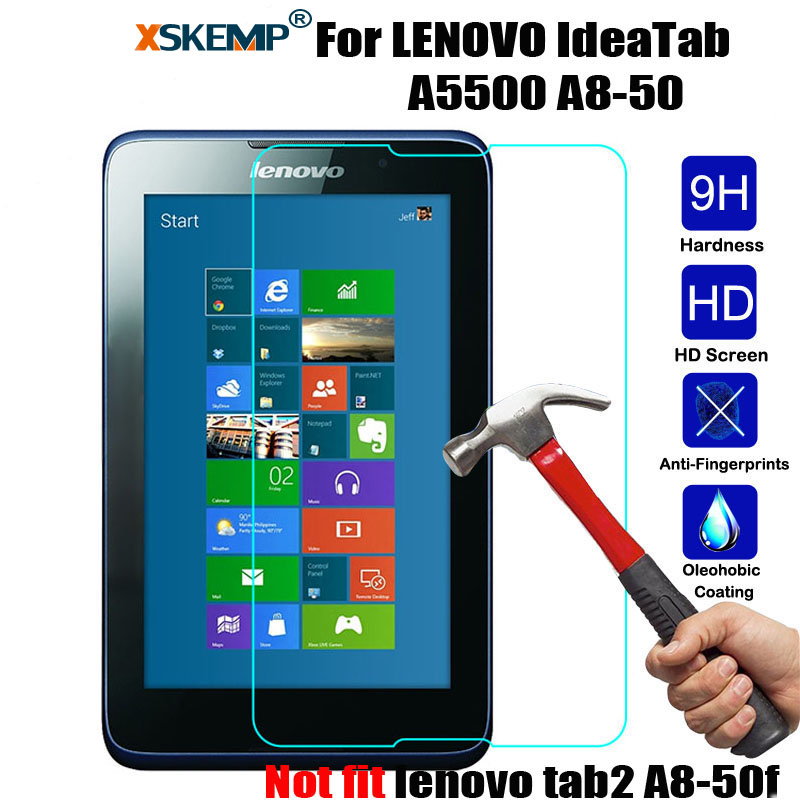 XSKEMP 9H Real Tempered Glass Protective Guard For Lenovo IdeaTab A8-50 A5500 8