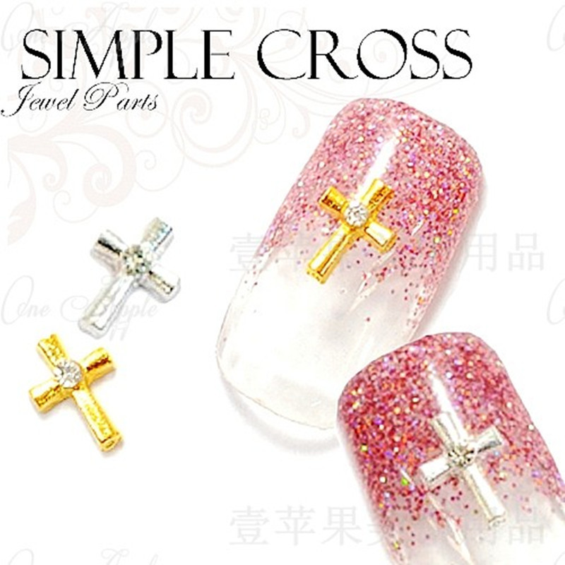 100pcsbag New Japan 3D Nail Art Decoration Metal Cross with Glitter Rhinestone Charm Jewelry DIY Nail Tools for Bride
