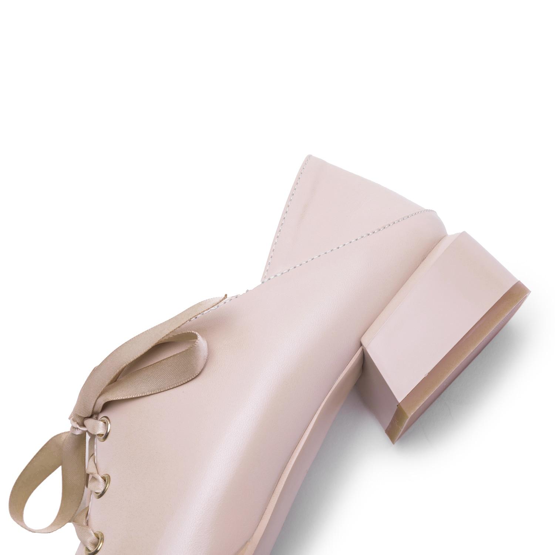 Beige Mujer caqui Planos Diseño 5 Cm 3 2019 negro Nuevo De Cuero Retro Oxford Zapatos xAqtwF67