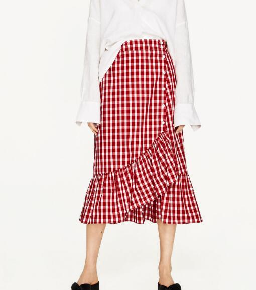 WISHBOP Fashion 2017 NEW Red Plaid GINGHAM FRILLED Midi skirt with maxi Ruffles detail hem Side Buttoned