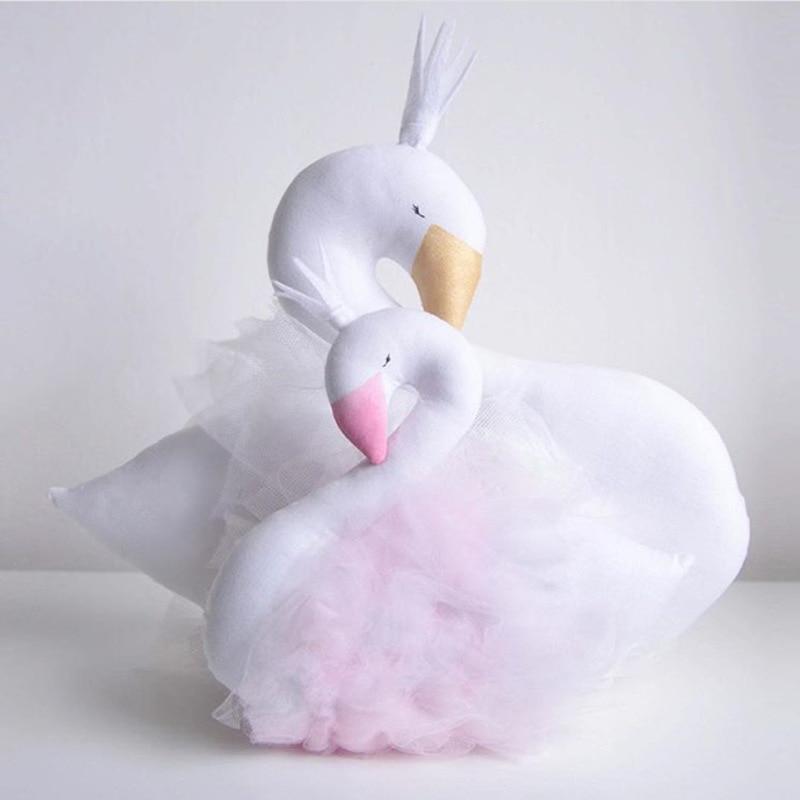 Bébé Oreiller Swan Couronne Gaze Oreiller Coussin Bébé Accompagner de Couchage Lit de Poupée Photographie Props Enfants Chambre Décoration Jouets
