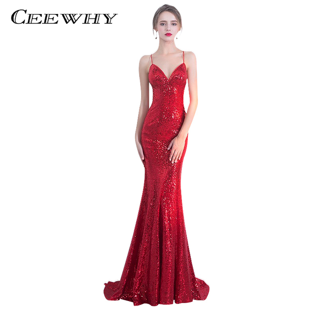 CEEWHY Sleeveless Luxury Mermaid Long Evening Dresses Sequined Beaded Prom Dress Robe De Soiree Sexy Backless Red Long Dress