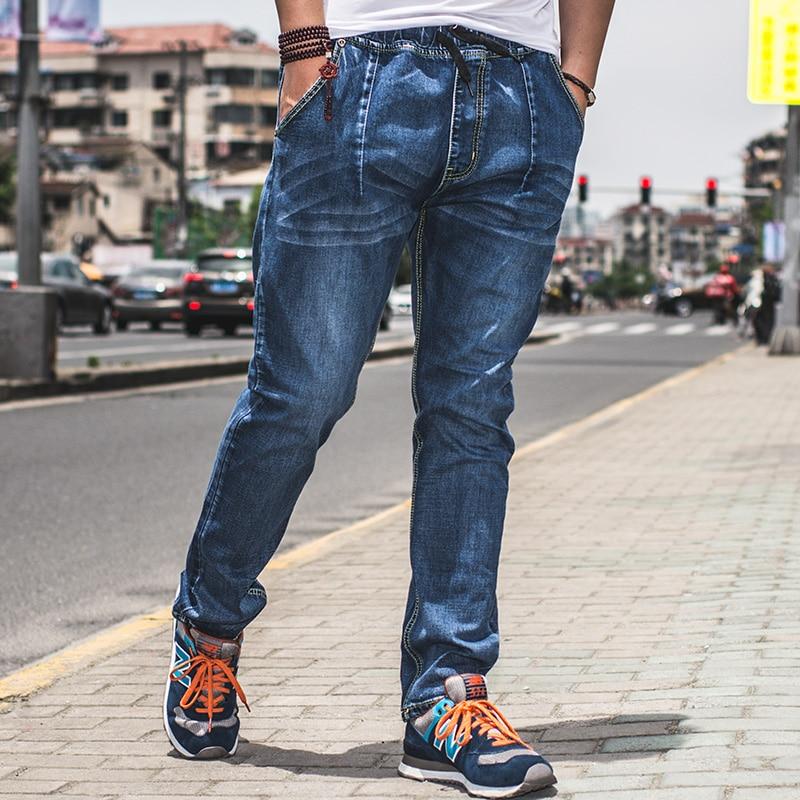High Quality Lightweight Mens Drawstring Harem Jeans Pants Plus Size Hip Hop Baggy Jeans Big Size