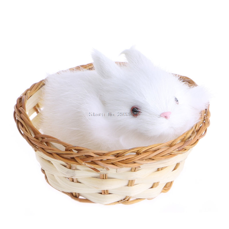 1Pc Hare Rabbits In Basket Furry Plush Toys Craft Collectible Gift For Children Kids -B116