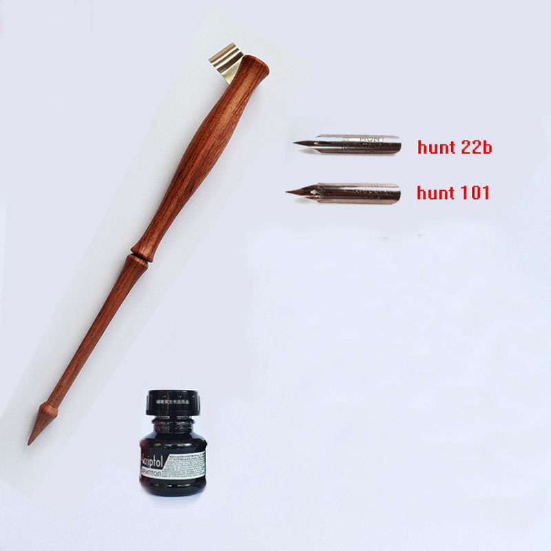 High Quality Handmade Rose Wood Oblique Calligraphy Pen Holder with 2 Nibs 1 ink English Copperplate Script Antique Dip Pen Set best hand made solid wood oblique calligraphy pen set copperplate script antique adjustable flange dip pen with 2 nibs 1 fount