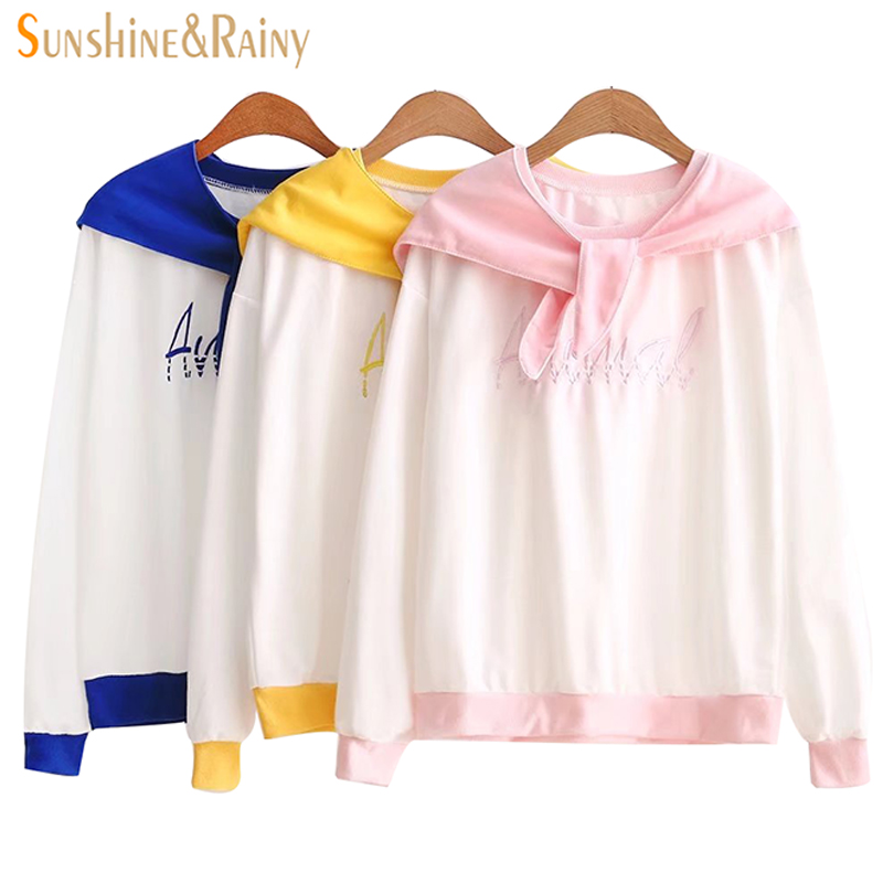 2018 New Spring Sailor Collar Female Shirt Letters Embroidery Stitching Color Long Sleeve Coat Student Fashion Pullovers Tops