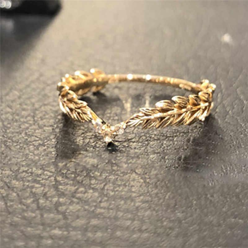 Simple Gold Filled สี Feather แหวนผู้หญิง CZ Zircon Anel bague แหวนวันเกิดเครื่องประดับอุปกรณ์เสริมของขวัญ S3