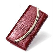 Moda carteira de couro genuíno bolsa feminina designer luxo couro patente carteiras femininas embreagem senhoras 3 fold couro ferrolho carteira