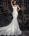 Loverxu Elegant Querida Lace Sereia Vestidos de Casamento 2016 Sexy Apliques Spaghetti Trumpet Vestidos De Novia Plus Size