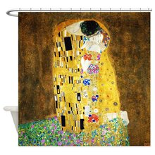 Gustav Klimt The Kiss Shower Curtain Decorative Fabric Shower Tires 12 Curtains Curtains Bath Customize Borong
