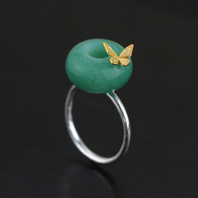 s925 sterling silver jewelry  original Dongling natural stone butterfly flower pot shape opening Female rings