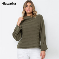 Hiawatha Turtleneck Pullover Knitted Women Sweater Winter Solid Striped Jumper Pull Femme AW006