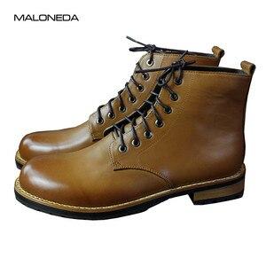 Мужские короткие ботинки на шнурках MALONEDE, из натуральной коровьей кожи, ручной работы
