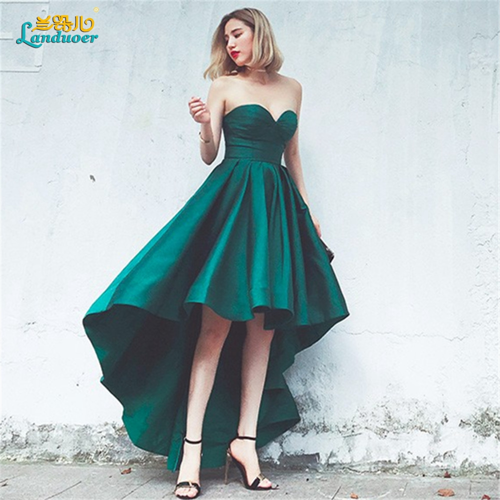 Emerald Green unique high low short front long back Prom Dresses ...