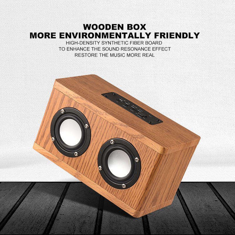 Wireless Wooden Bluetooth Speaker AUX Audio Stereo MP3 Player Mini FM Radio Soundbar Portable Speaker For Computer Phone