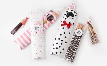 Dot Pink Long Finger Cookie Paper Box Wedding Birthday Christmas Favor Decor Chocolate Macaron Packaging Bag LIN4319