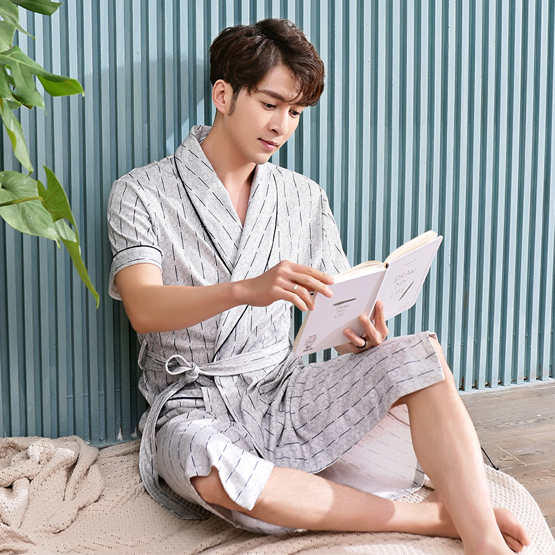 Striped print bathrobe men cotton short sleeve sleepwear nightgown mens  thin long robes soft summer home hotel summer -in Robes from Underwear    Sleepwears ... e0ea77d8a
